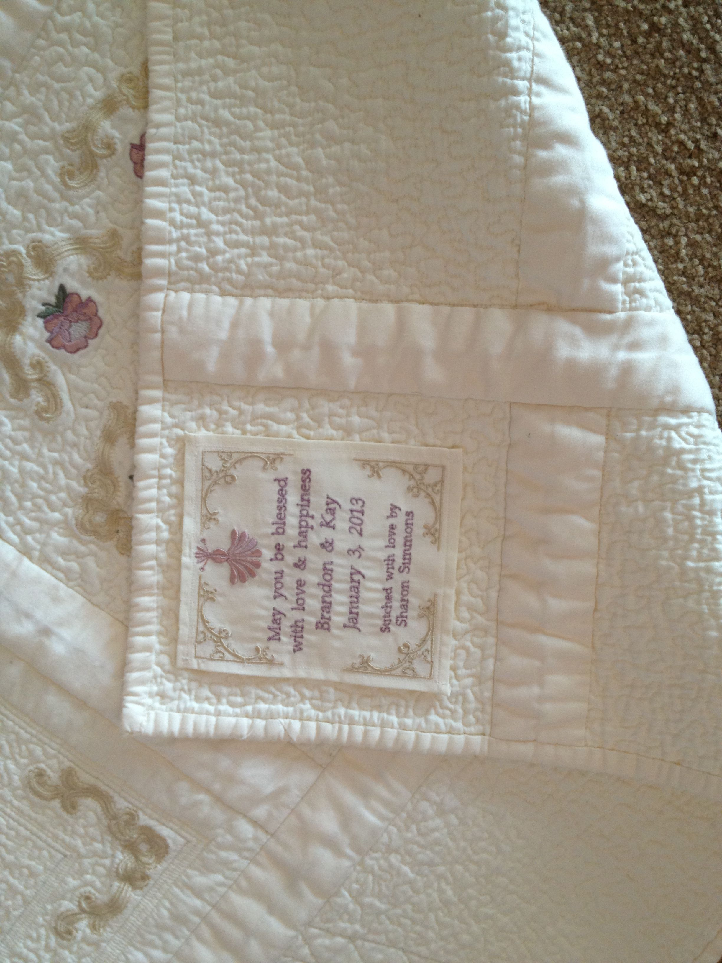 The Label I Made For My Son S Wedding Quilt Quilt Labels