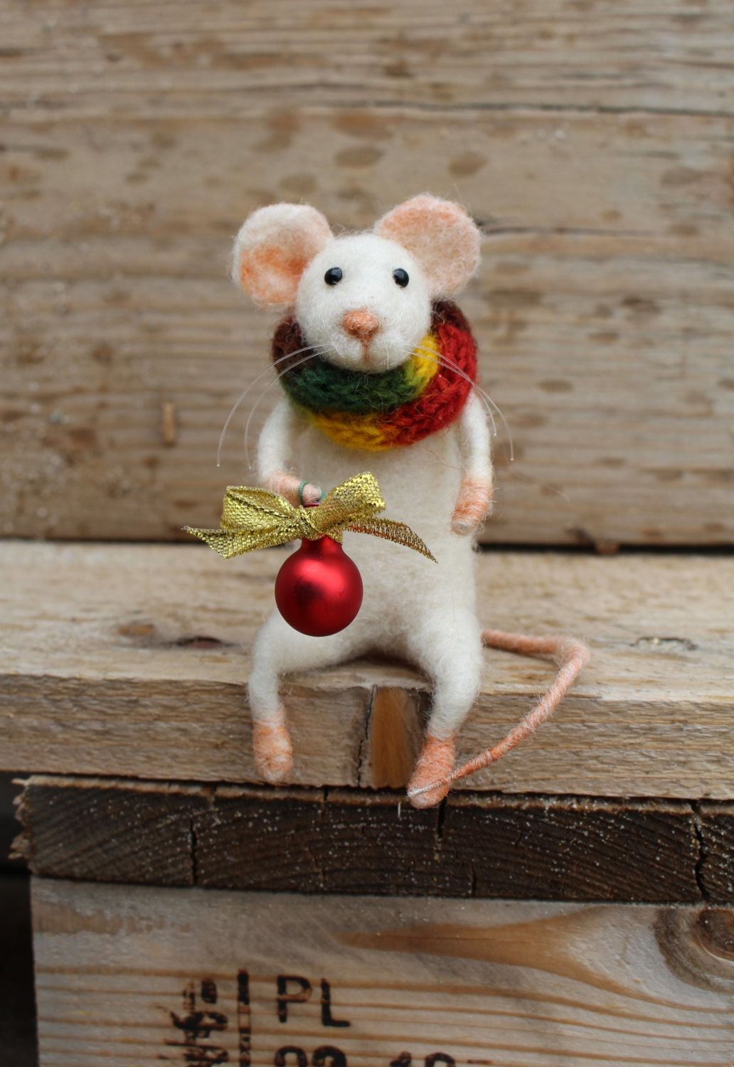 needle felted christmas mouse christmas mouse felted mouse christmas decoration felted white mouse with christmas red ball gift idea by misha2smile on - Christmas Mouse Decorations