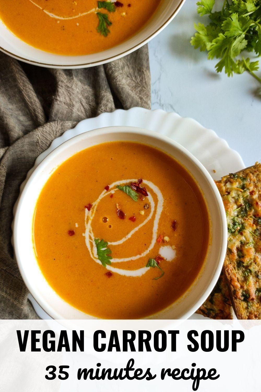 Easy Ginger Carrot Soup Easy Vegan Gluten Free Soup Recipe Vegetarian Christmas Recipes Carrot Soup Easy Vegan