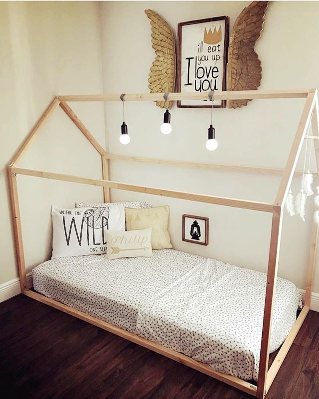 Wild Things Themed Kids Room With Montessori Floor House Bed Frame From Rubyrye Com House Frame Bed House Beds
