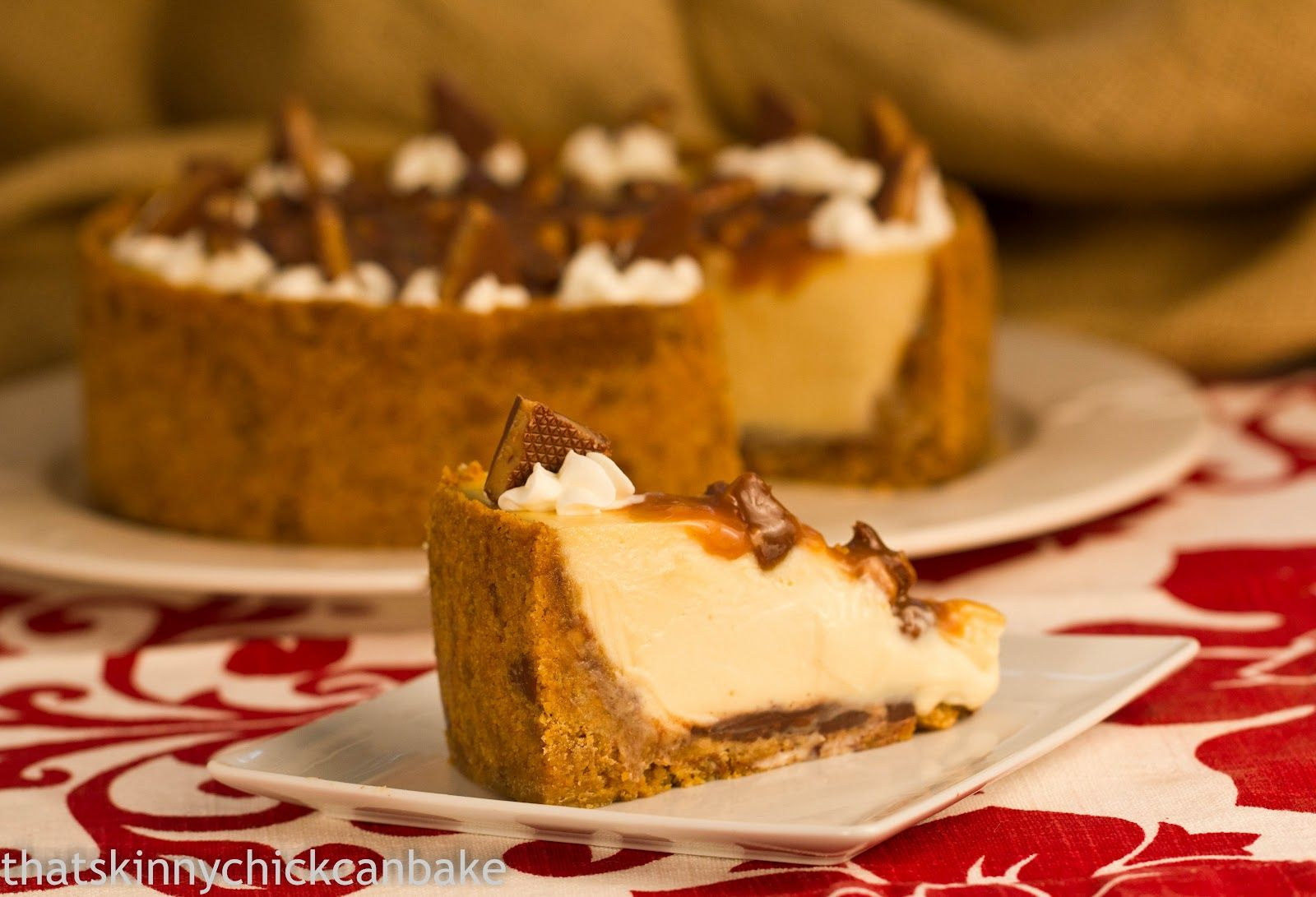 That skinny chick can bake!!!: Sticky Caramel Toffee Cheesecake...Secret Recipe Club~