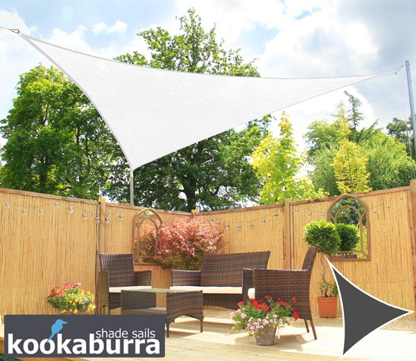 Kookaburra 3 6m Triangle Polar White Breathable Party Shade Sail Knitted 185gsm
