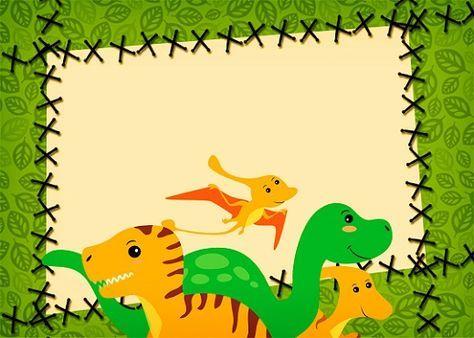 Tarjetas Invitaciones Etiquetas Stickers Con Dinosaurios