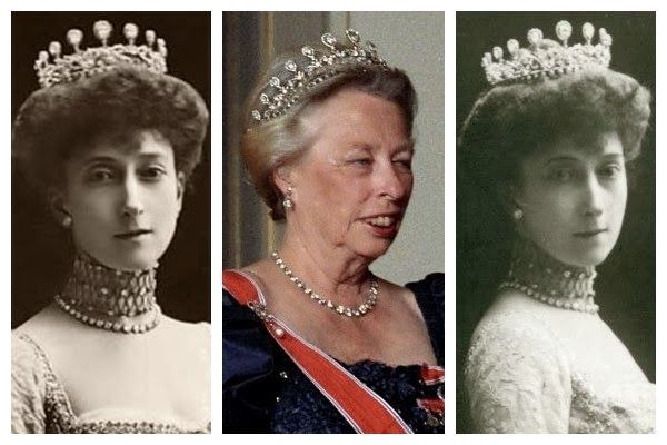 This tri-level diamond tiara was among the wedding presents that Princess Maud of Wales, the daughter of the future King Edward VII and Queen Alexandra of the United Kingdom, Photos (from left): Queen Maud of Norway; Princess Ragnhild of Norway; Queen Maud of Norway