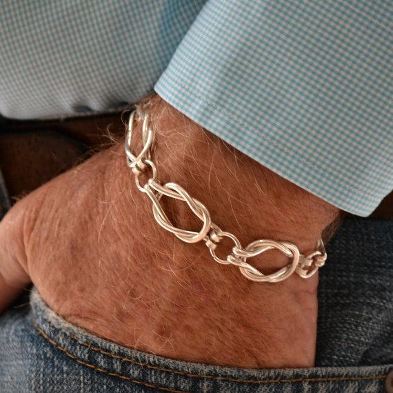 Men\'s Sailors Knot Link bracelet Heavy weight Sterling silver ...