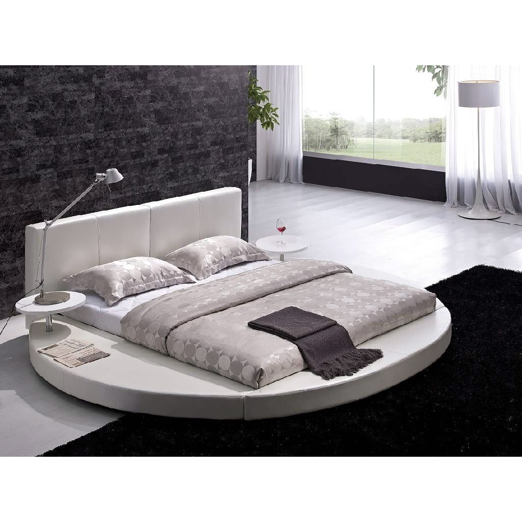 Queen size Modern Round Platform Bed with Headboard in White Leather ...