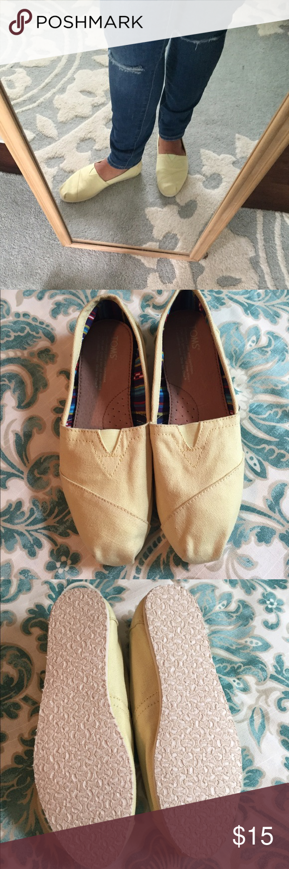 Women's light yellow Tom's Only worn to try on. TOMS Shoes Flats & Loafers