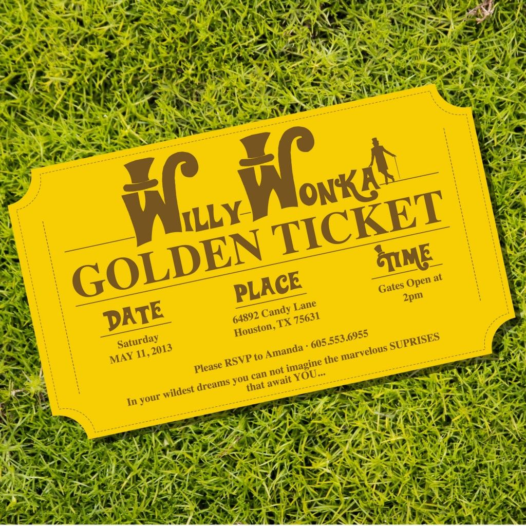 Willy Wonka Golden Ticket Party Invitations from SunshineParties ...