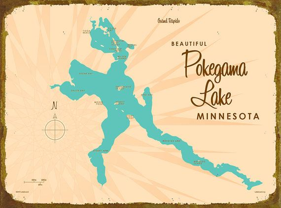 Pokegama Lake MN Map Canvas Print Lakebound Maps Pinterest - Pokegama lake map