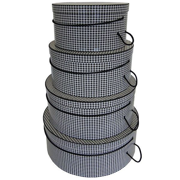 Rigid Nested Hat Boxes-Houndstooth