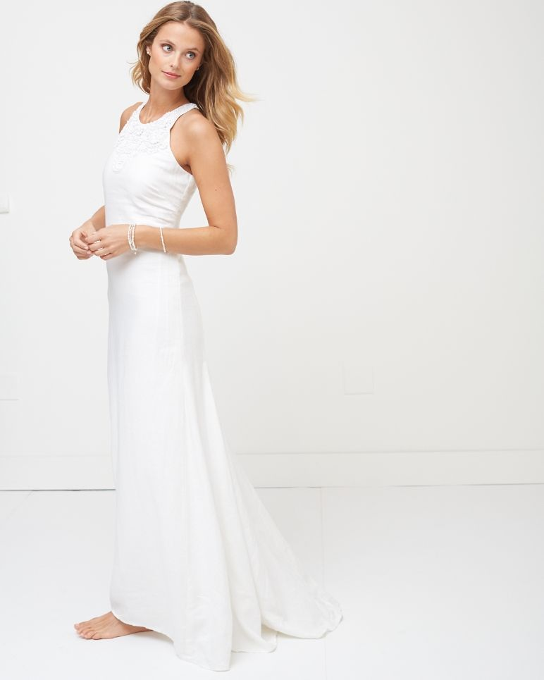 Trapeze Linen Wedding Dress