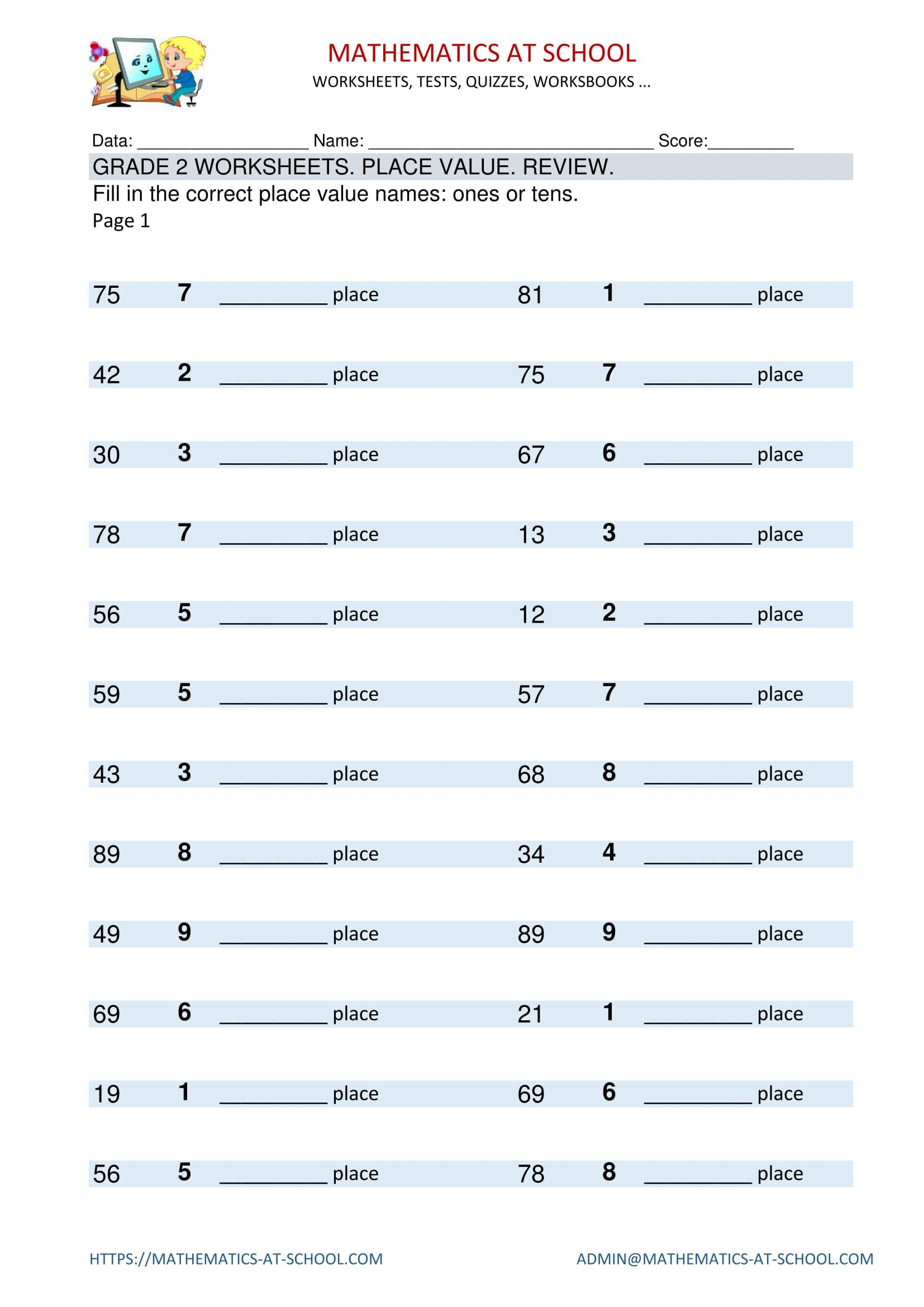 Grade 2 Worksheets Place Value Names Review Place Value
