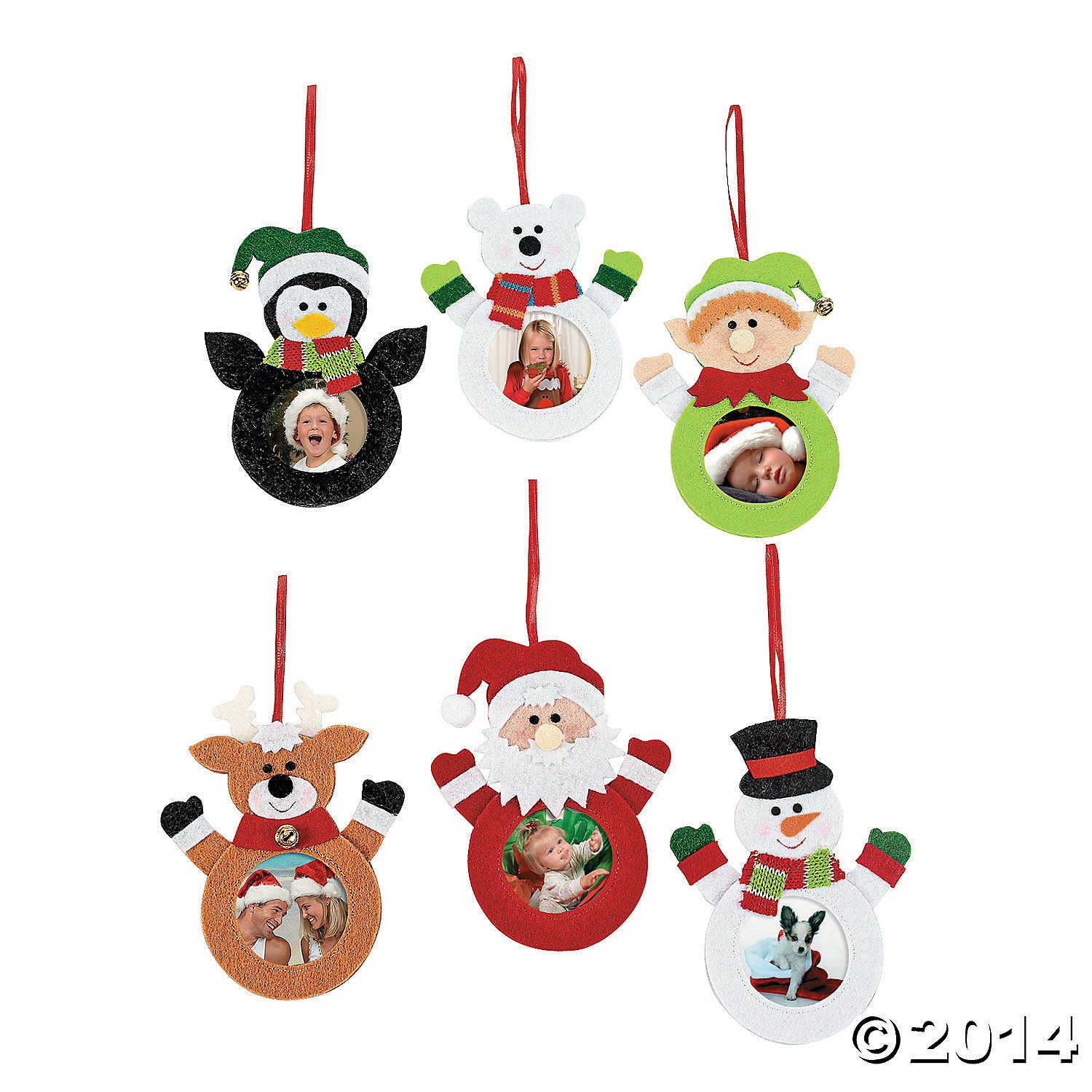 Felt Character Picture Frame Christmas Ornaments 12 Pk
