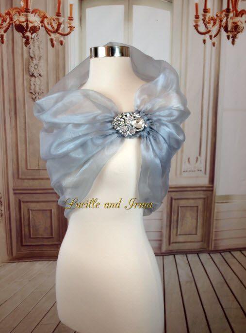 the latest b1699 e7cec Organza Shawl Grey Shrug Silver Organza Bridal Stole With ...