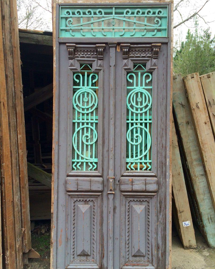 Antique iron door in beautiful old blue and gray! - Antique Iron Door In Beautiful Old Blue And Gray! Unique