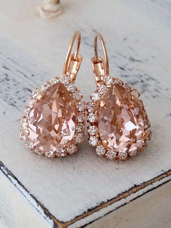 Blush earrings,Morganite earring Rose gold,Chandelier earrings ...