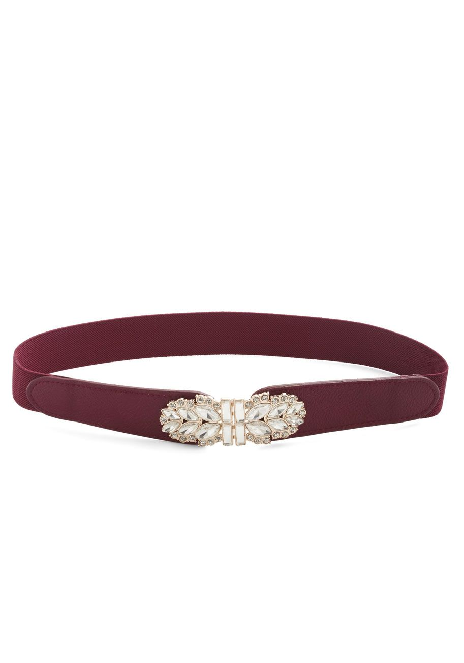 Little Bit of Glitz Belt in Sangria. A touch of sparkle makes any ensemble shine, so liven up your look with this dark red belt! #red #modcloth