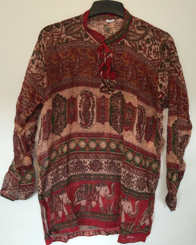 "Bust40 /"" 100/% Cotton Indian Kurti Vintage Look Top Bluse Hippy Kleid Tunika"