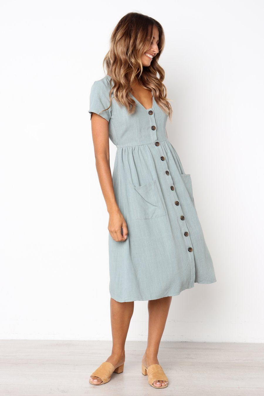 5b6312f1553f Vicky Dress - Sage....this may be a perfect dress. So cute. Love the  buttons