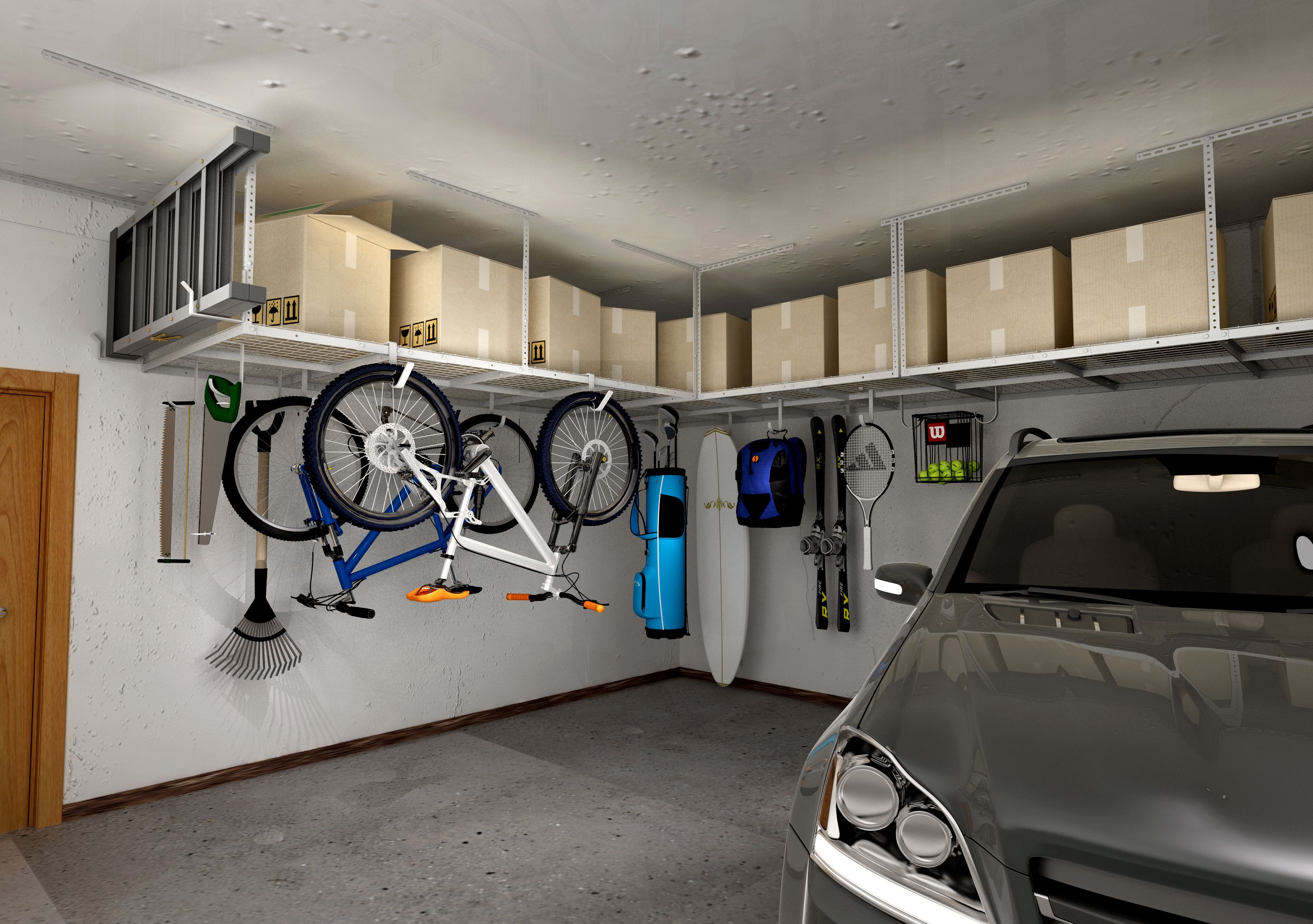 Ceiling Racks In 2020 Garage Storage Racks Overhead Garage Storage Diy Overhead Garage Storage