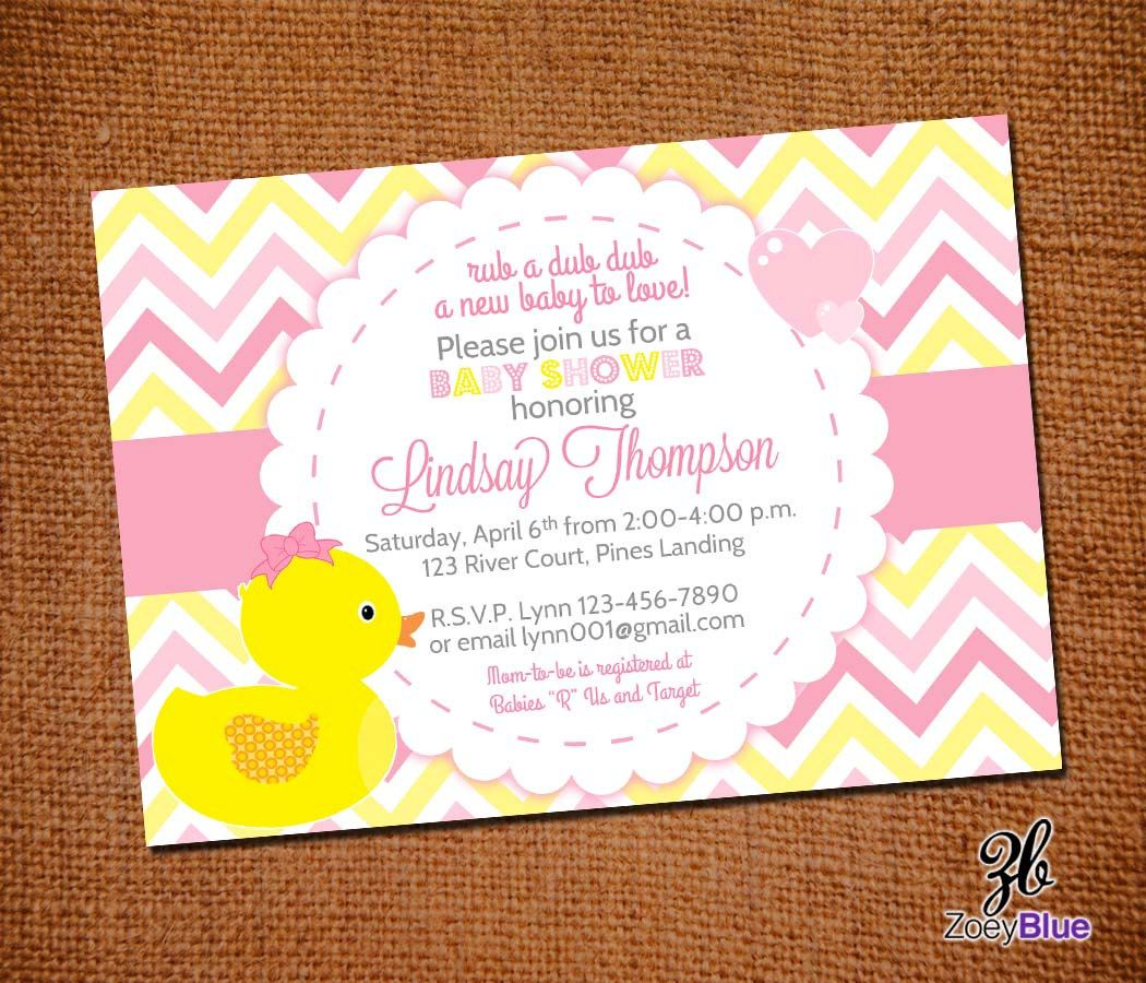 Girl Rubber Ducky Baby Shower Invitation Girl Bow Printable Ducky Duck Pink Grey Yellow
