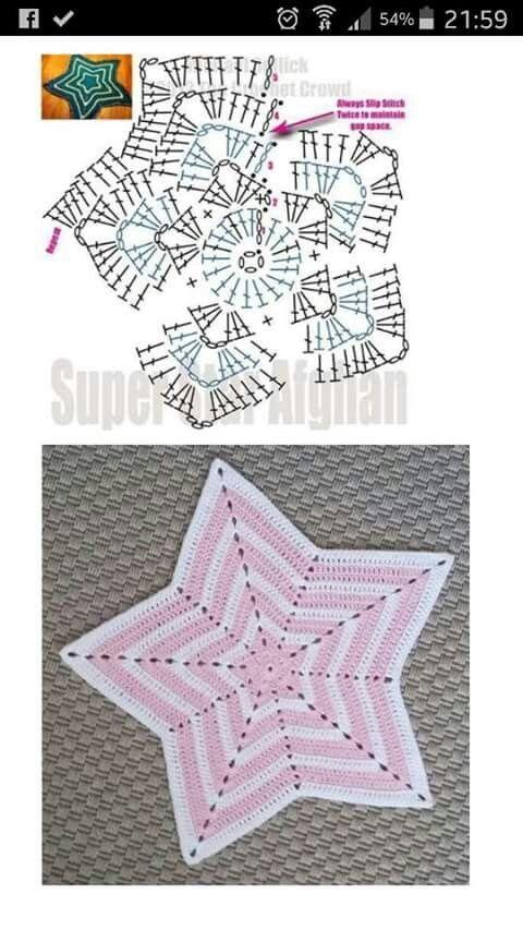 Alfombra de ganchillo en forma de estrella Alfombra de ganchillo en forma de estrella ... ...