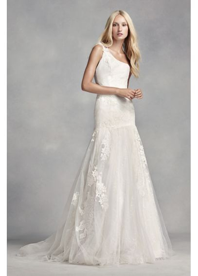 Cool White By Vera Wang One Shoulder Lace Wedding Dress VW