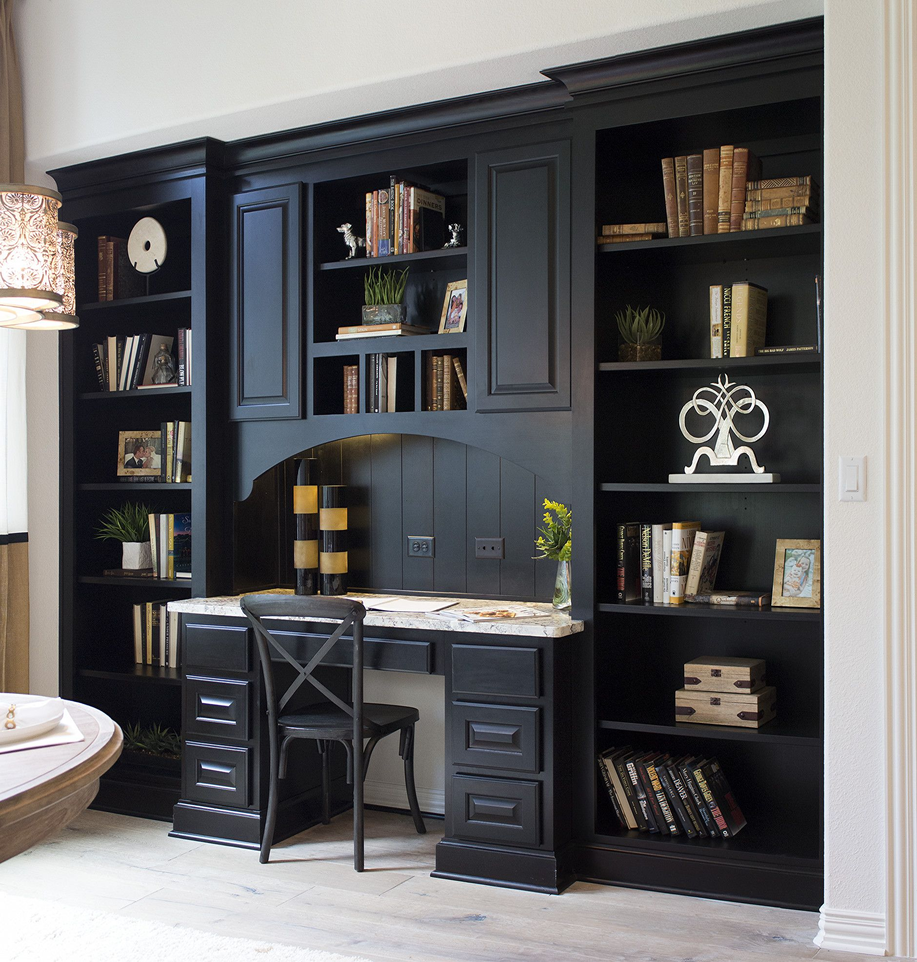 Kitchen planning desk with bookshelves in almost-black Rye ...