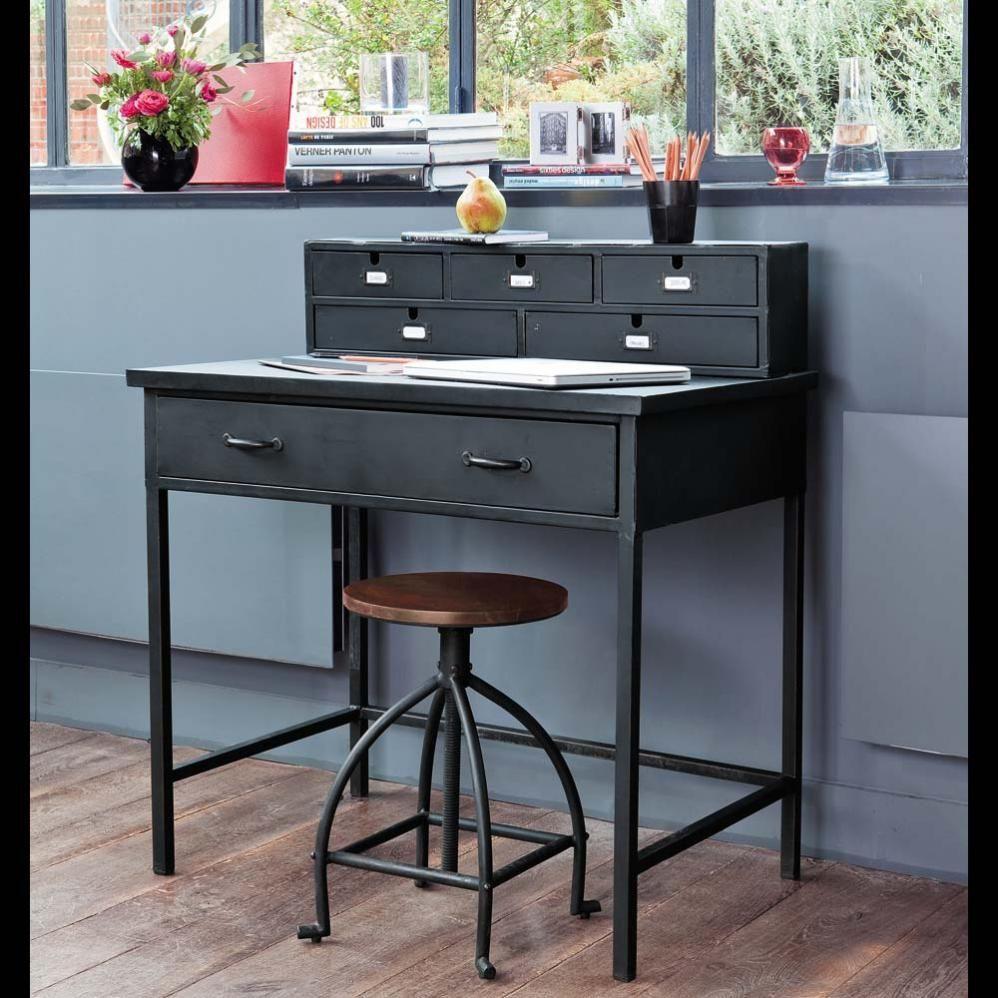 bureau indus secr taire en m tal noir effet vieilli l 89 cm secr taire maison du monde et bureau. Black Bedroom Furniture Sets. Home Design Ideas