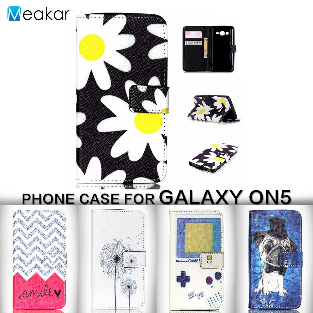 Painted Pattern PU Leather 5.0for Samsung Galaxy On5 Case For Samsung Galaxy On5 On 5 G5500 Cell Phone Cover Case