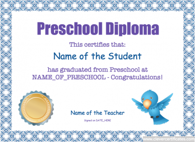 Preschool diploma template free teaching education preschool diploma template free certificate yadclub Image collections