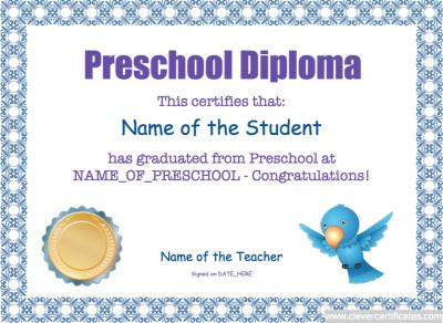 preschool diploma template free teaching education pinterest