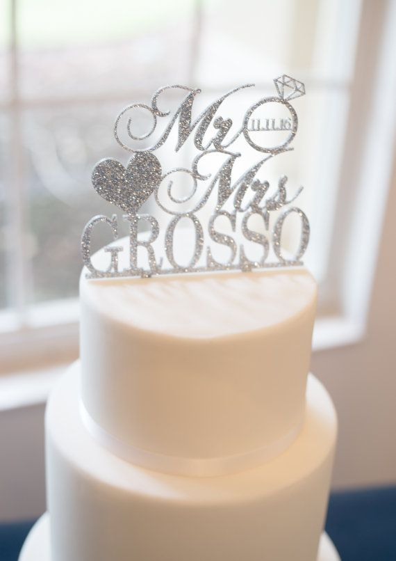 Last Name Cake Topper Wedding Dessert Decoration Item - CPR800 Wedding Cake Topper Personalized Mr /& Mrs Customized in Glitter