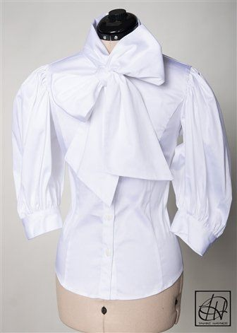 994cd34cfe6aa4 Stretch Cotton Bow Blouse | Business Class | Bow blouse, Blouse, Fashion