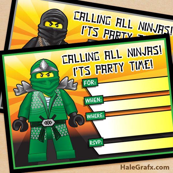 Lego Ninjago Verjaardag.Free Printable Lego Ninjago Birthday Invitation Set Lego