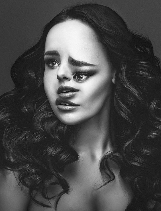 """Hungarian photographer Flora Borsi  digitally """"distouches"""" images of models. After analyzing fashion portraits, the artist took note of the overt emphasis on perfection the images took. She then decided to play with the process to perfect by attempting the opposite."""