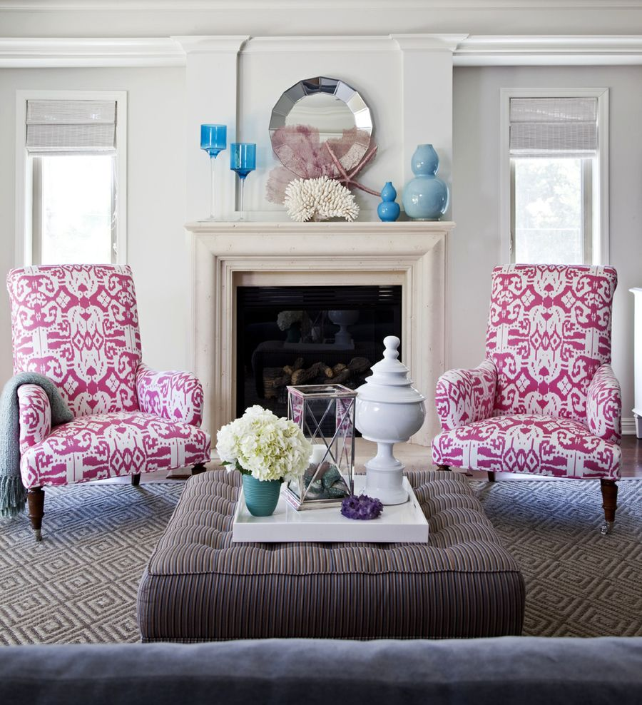 Living room chairs in quadrille island ikat magenta on white emily ruddo high gloss magazine