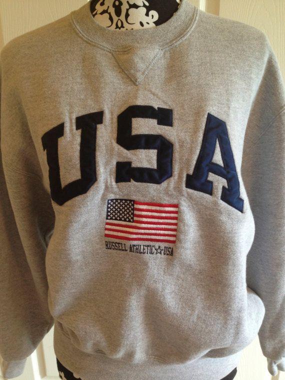 b20ddf55 Vintage USA Flag Russell Crew Neck Sweatshirt | Wish list | Vintage ...