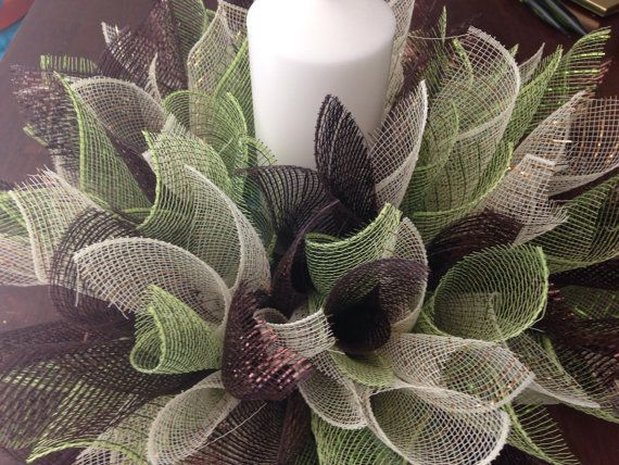 Spiked Decomesh Wreath-Cream/Brown/Moss by ...