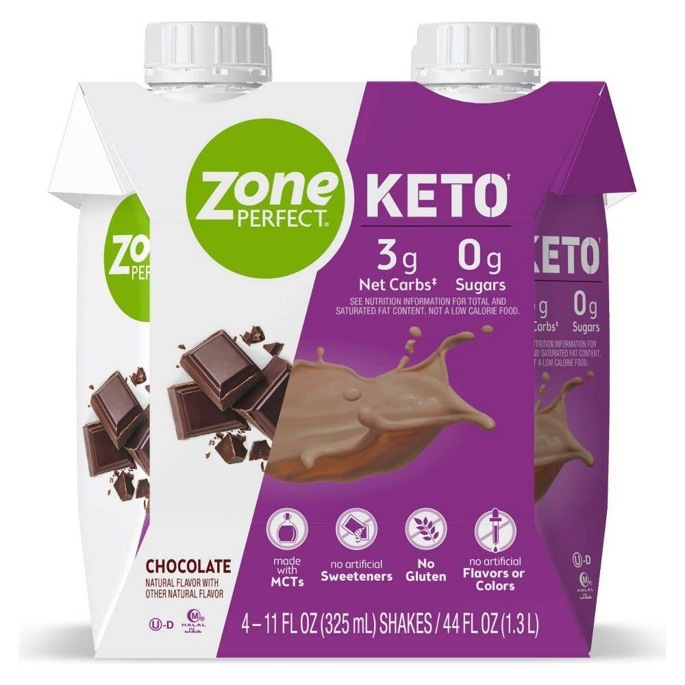 ZonePerfect Keto shakes are designed to support your keto lifestyle with 3g net carbs* and 0g sugars.? Our keto shakes help satisfy hunger with 18g fat and 10g protein per serving. They are gluten-free and contain no artificial sweeteners, colors, or flavors. These shakes make a great snack to help keep you on track with your keto lifestyle. Great taste guaranteed! If you?re not 100percent satisfied with the taste, we?ll give you your money back. * Net Carbs = Total Carbs? Dietary Fiber? Sugar A