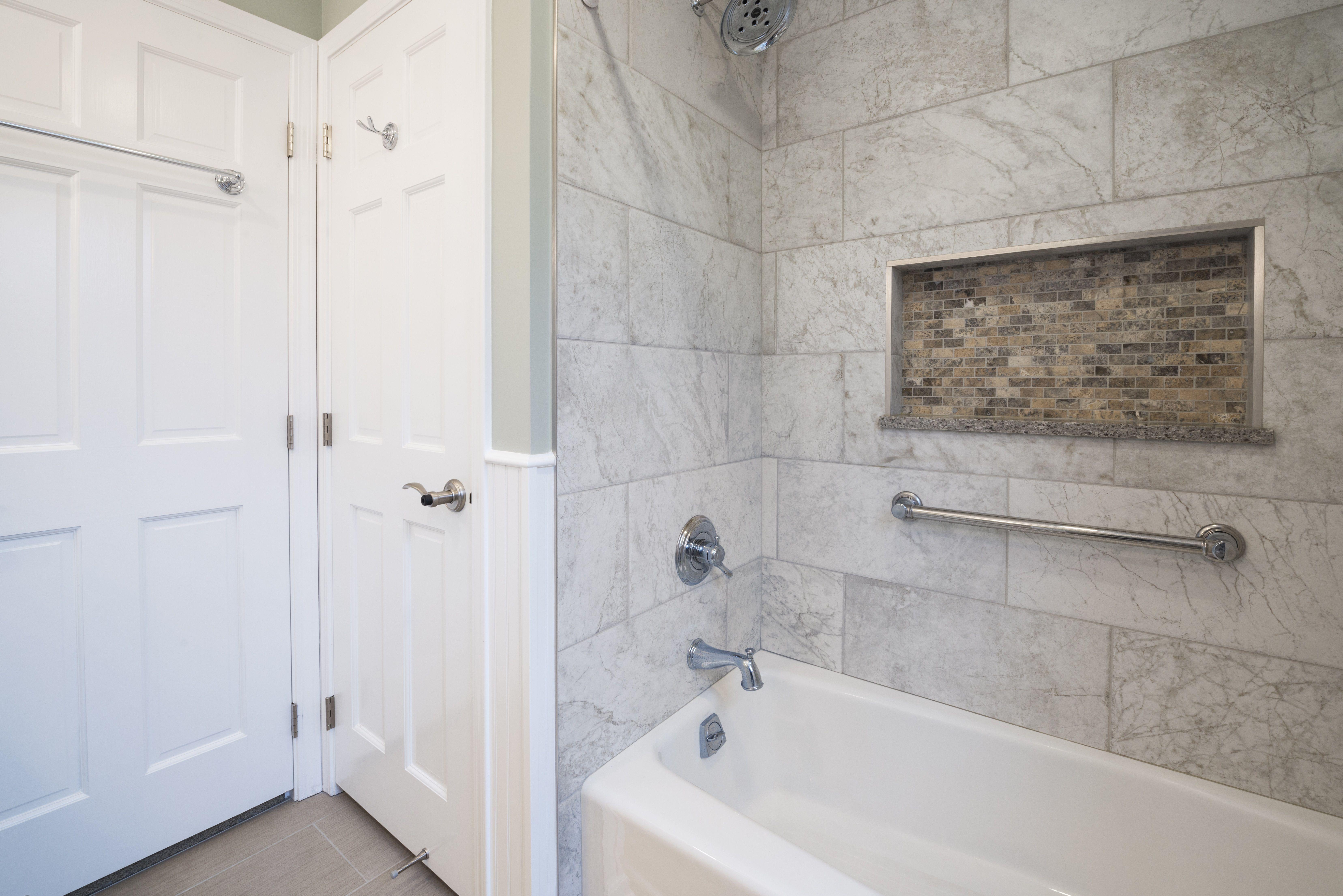 Guest Bathroom Remodel In Indiana Shower Bathtub Wood Look