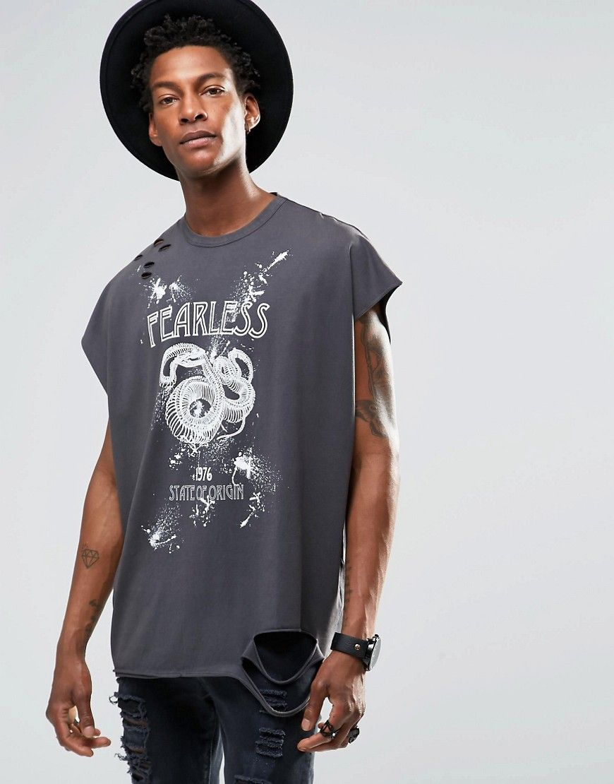 ASOS Super Longline T-Shirt With Distressed Skull Print And Roll Sleeve at  asos.com