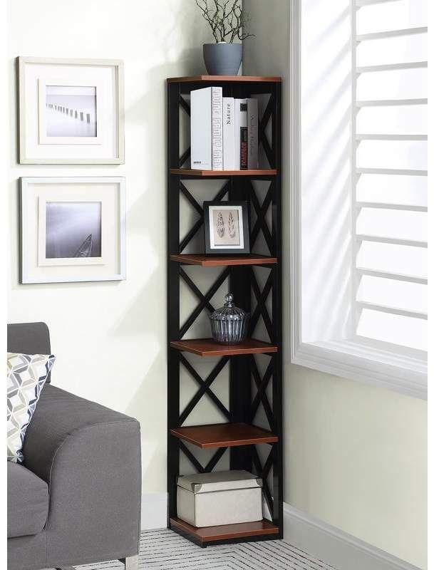 Beachcrest Home Stoneford Corner Unit Bookcase Corner Shelf Design Living Room Wall Units Living Room Shelves
