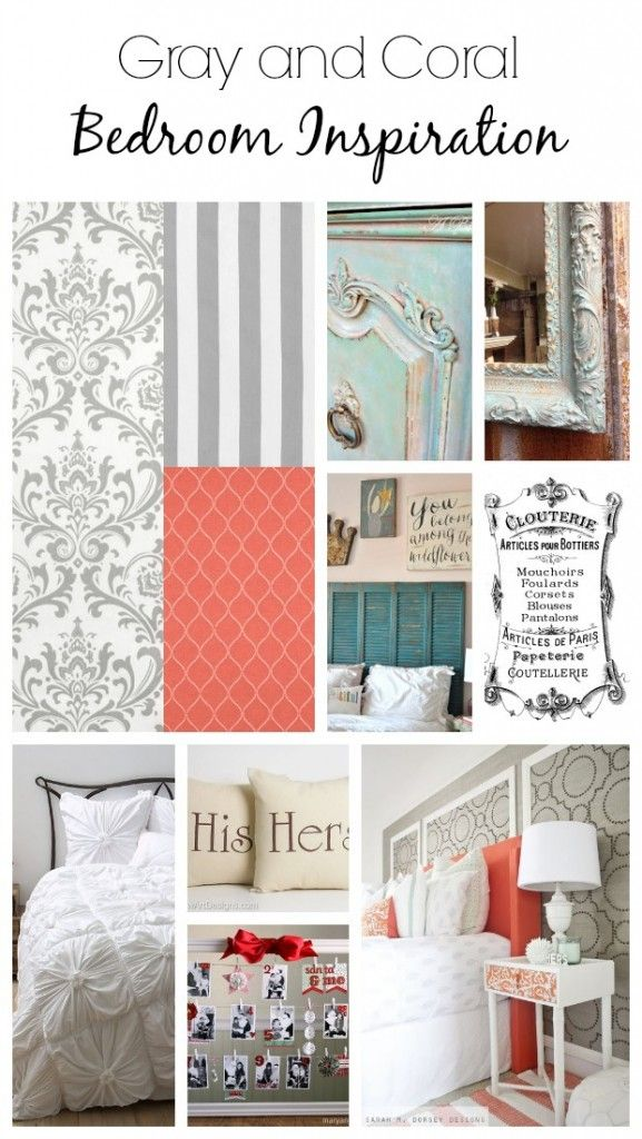 Gray And Coral Bedroom Inspiration   Martyu0027s Musings