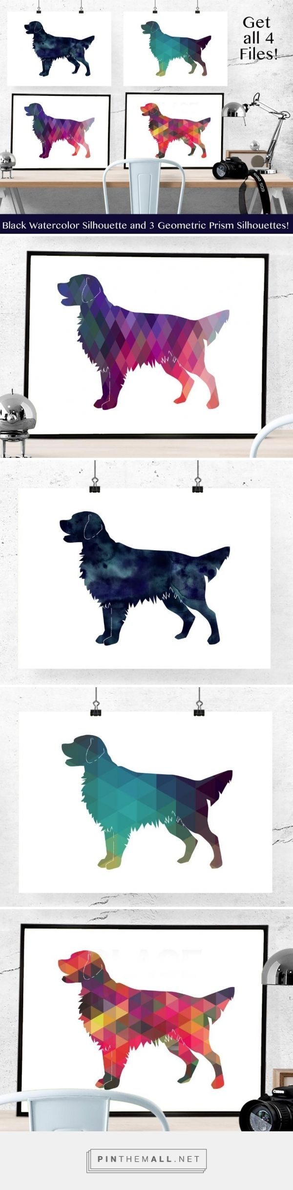 ❤ Golden Retriever silhouettes with black watercolor or geometric ...