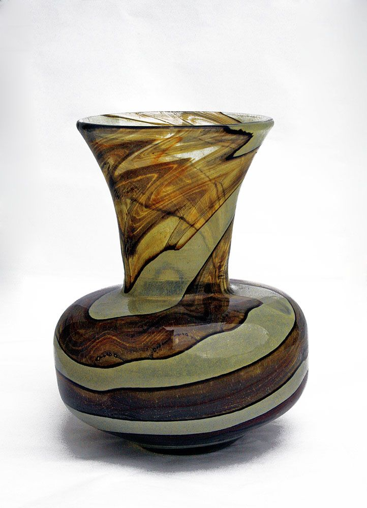 "'Earthtones' Pattern Vase.  Mdina Glass, Malta. Signed ""Mdina""."