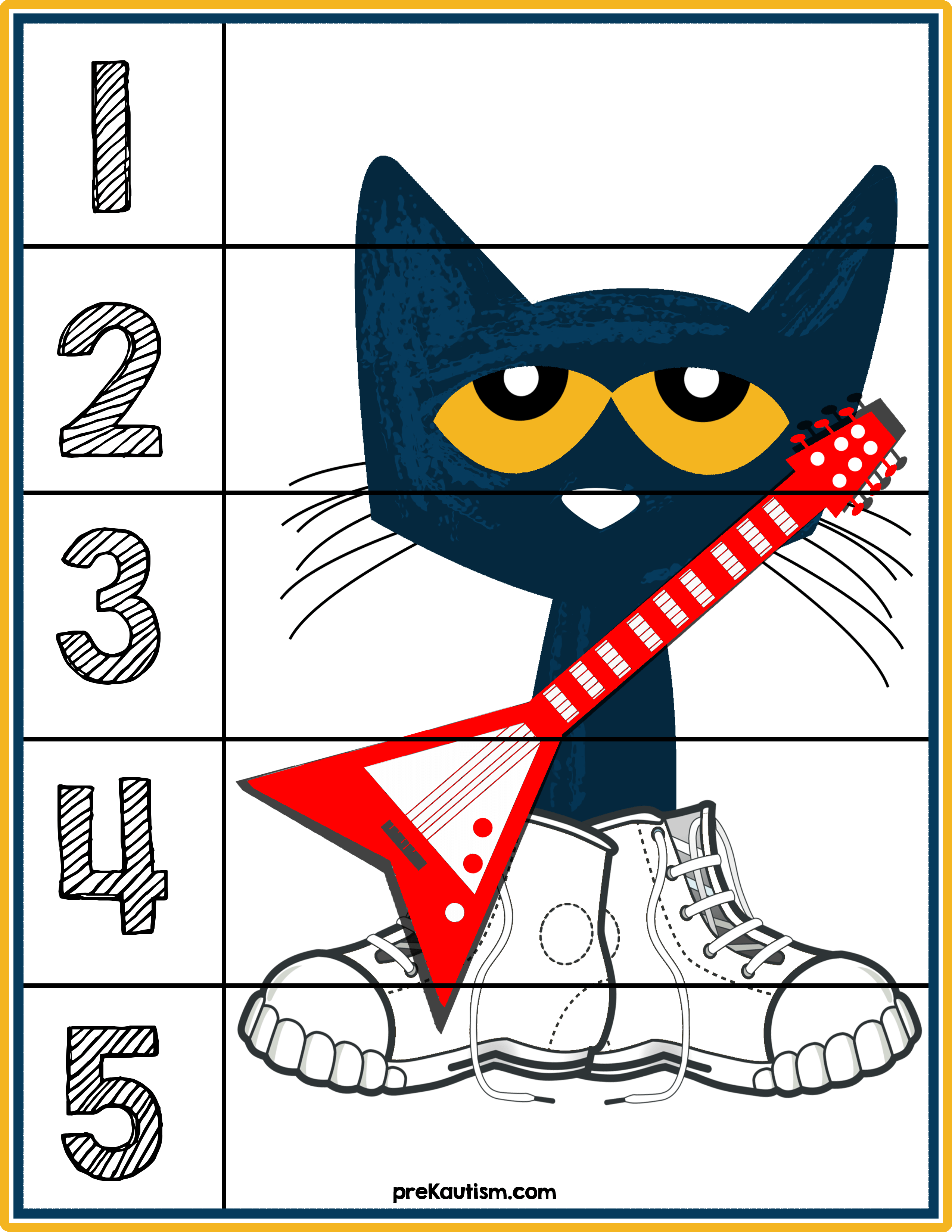 Pete The Cat 1 5 Counting Puzzle