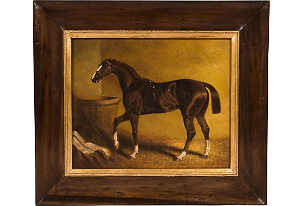 He is pretty!You could always change the frame.Oil Painting,A Chestnut Racehorse