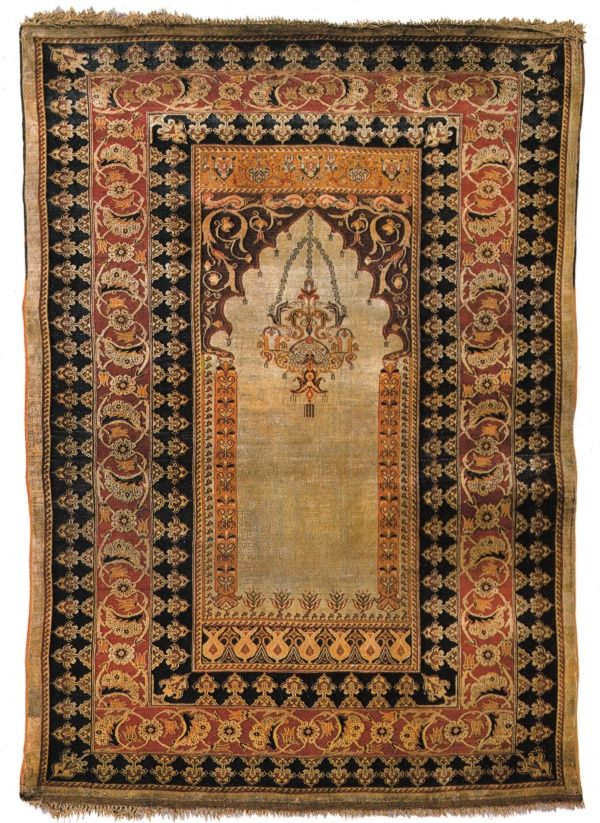 Rare Early 19th Century Silk Prayer Rug From Turkey Sotheby S New York Catalog Fine Oriental Rugs And Persian Carpets October 30 1982