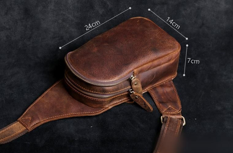 Genuine Leather Mens Cool Chest Bag Sling Bag Crossbody Bag Travel Bag Hiking Bag for men -   16 diy bag sling